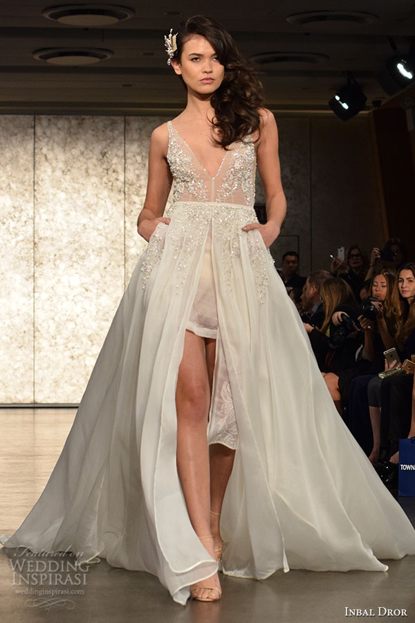 inbal-drori-fall-2016-wedding-dresses-bridal-week-runway-fashion-v-neck-tulle-split-center-sexy-beautiful-flowy-a-line-dress