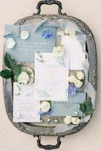 Timeless Blue Wedding Stationery Suite featured on JPC Event Group