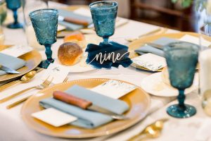 Gold and Blue Wedding Table Numbers