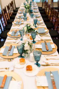 Blue and Gold Wedding Tablescape for Timeless Blue Wedding planned by JPC Event Group