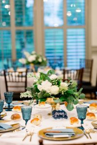 White and Greenery Wedding Centerpieces by The Farmers Daughter